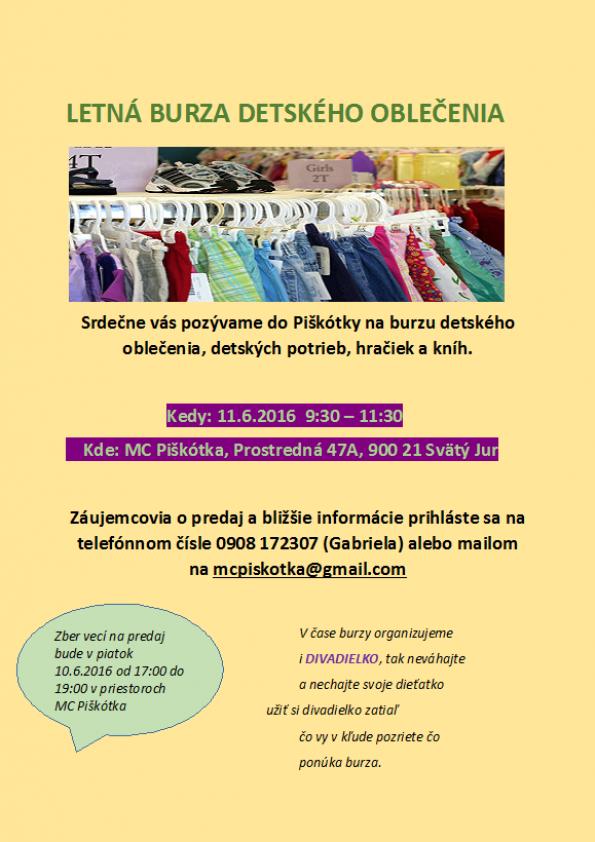 5abdc79da8e5 Príďte sa pozrieť a nakúpiť na burzu detského oblečenia