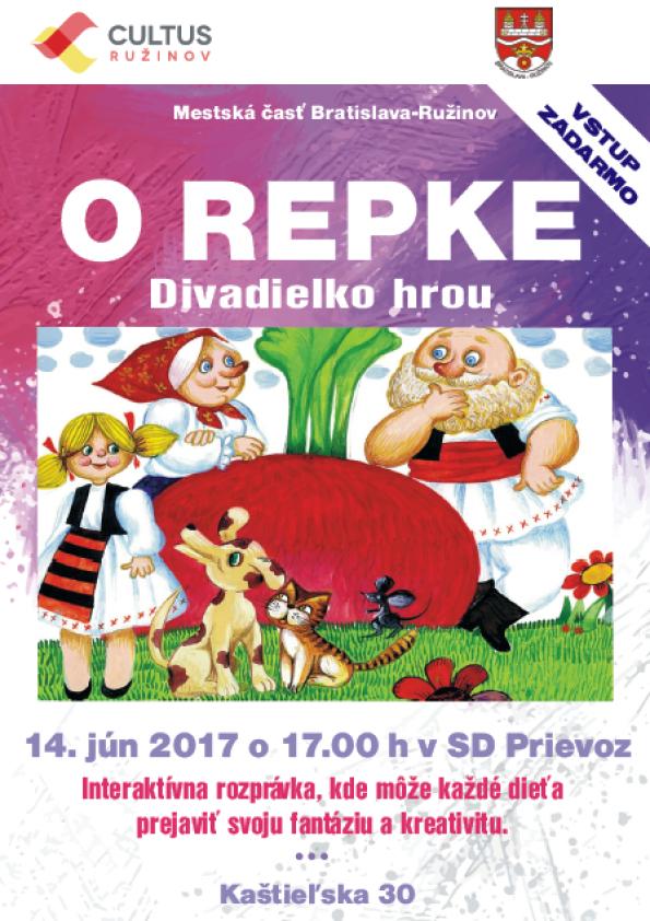 1cc927782 Cultus Ružinov a MČ Bratislava-Ružinov pozývajú všetky deti s rodičmi na  predstavenie interaktívnej rozprávky O repke, kde môže každé dieťa zapojiť  svoju ...